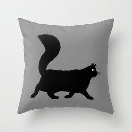 Walking Black Cat Throw Pillow