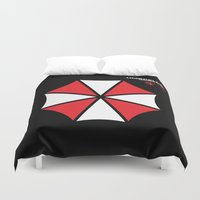 resident evil Duvet Covers featuring Most evil corporation ever! by aceofspades81