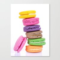 macaroons Canvas Prints featuring MacaroonS Colorful by WhimsyRomance&Fun