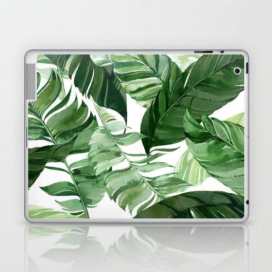 Green leaf watercolor pattern Laptop & iPad Skin