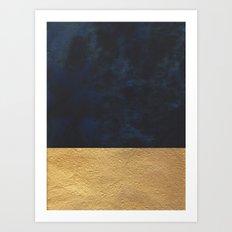 Color Blocked Gold & Cobalt Art Print