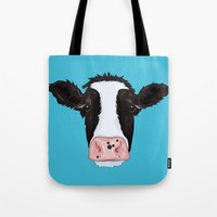 cow Tote Bags featuring Cow by Compassion Collective