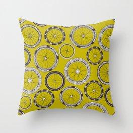 bike wheels chartreuse Throw Pillow