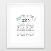 calendar 2015 Framed Art Prints featuring 2015 Calendar by Sweet Colors Gallery