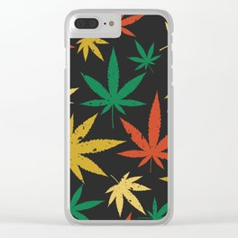 Cannabis Leaf Pattern Clear iPhone Case