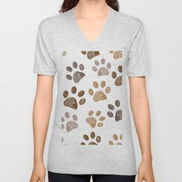 Brown colored paw print background Unisex V-Neck