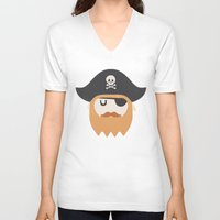 pirate V-neck T-shirts featuring Pirate by Beardy Graphics