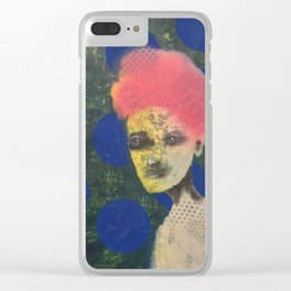Blue dotted Brokade Clear iPhone Case