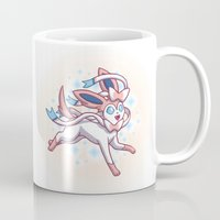 sylveon Mugs featuring Sylveon  by Lara Frizzell