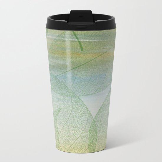 Delicate Painterly Leaves Metal Travel Mug