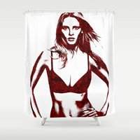 calvin Shower Curtains featuring Lara Stone Calvin Klein Fashion by fashionistheonlycure