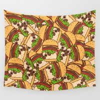burger Wall Tapestries featuring Puglie Burger by Puglie Pug