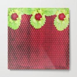 Strawberry LOVE - Strawberries pattern and Illustration Metal Print