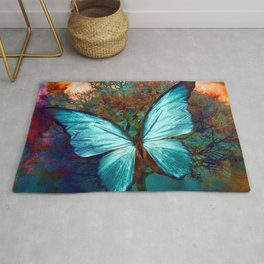 The Blue butterfly Rug