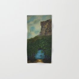 Old Man in the Mountain, Franconia Notch, White Mountains New Hampshire landscape painting Hand & Bath Towel