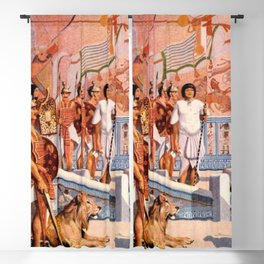 "Classical Masterpiece ""Egyptian Ramesses II Throne Room"" by Herbert Herget Blackout Curtain"