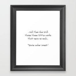 Three Little Words Framed Art Print