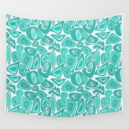 Retro .Turquoise abstraction . Wall Tapestry