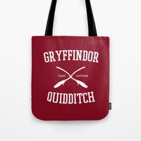 gryffindor Tote Bags featuring Hogwarts Quidditch Team: Gryffindor by IA Apparel