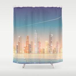 City skyline at night Shower Curtain