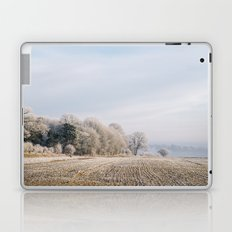 Rural scene covered in a thick hoar frost. Norfolk, UK. Laptop & iPad Skin