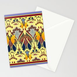Decorative Yellow Art Nouveau Butterfly Maroon Designs Stationery Cards