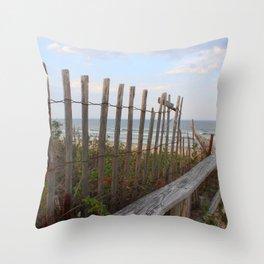 Sunset at Maine Beach Enterance Throw Pillow