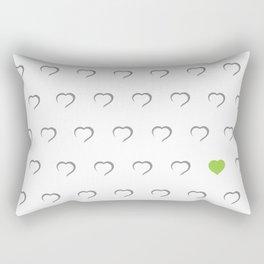 Hearts - Green Rectangular Pillow
