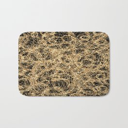 Gold Thread on Black | Abstract Brain Map 3 Bath Mat