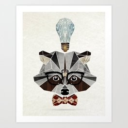 raccoon nerd Art Print