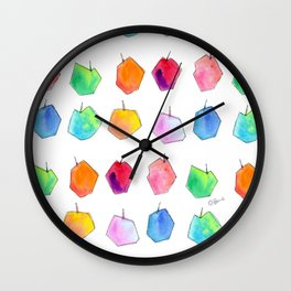 We Love Our Colors, Why Not? (Apples) fruit pattern food colorful illustration kitchen art unique Wall Clock