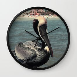 Florida Pelican Color Photo Wall Clock