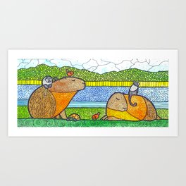 Capybaras Art Print