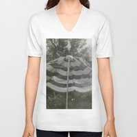 umbrella V-neck T-shirts featuring Umbrella by Anja Hebrank