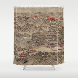 Panoramic view of the Rehe Imperial Palace between 1875-1900 [Rehe xing gong quan tu] Shower Curtain
