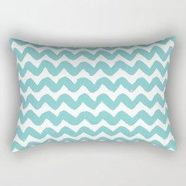 Aqua Brushstroke Chevron Pattern Rectangular Pillow
