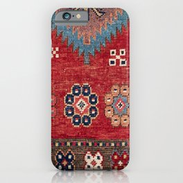 Tribal Honeycomb Palmette // 19th Century Authentic Colorful Red Aztec Flower Accent Pattern iPhone Case