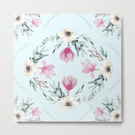 Floral Square Acqua Metal Print