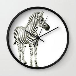Zebra Watercolor Baby Animals Wall Clock