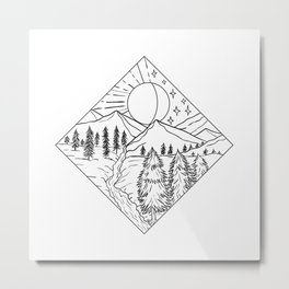 Night Day Sun and Moon Monoline Metal Print