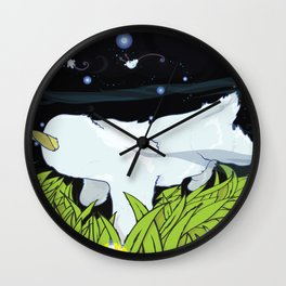 chasing apple spores Wall Clock