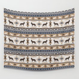 Boho dogs | German shepherd pattern tan Wall Tapestry
