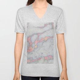 Rosegold Pink on Gray Marble Metallic Foil Style Unisex V-Neck