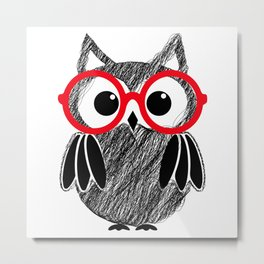 black owl in red glass design Metal Print
