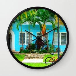 #side street still life miami Wall Clock