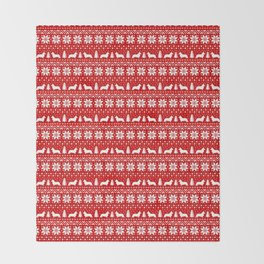 Cardigan Welsh Corgi Silhouettes Christmas Sweater Pattern Throw Blanket