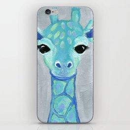 Giraffe Painting, Baby Giraffe, Blue Giraffe, Child's Room Decor, Gray Green Blue Art iPhone Skin