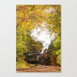 Nature Landscape Photograph Steam Train with Autumn Foliage Canvas Print