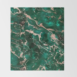 Modern rose gold marble green emerald watercolor pattern Throw Blanket