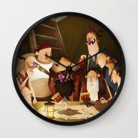 the goonies Wall Clocks featuring Secret Treasure by Mark Bird